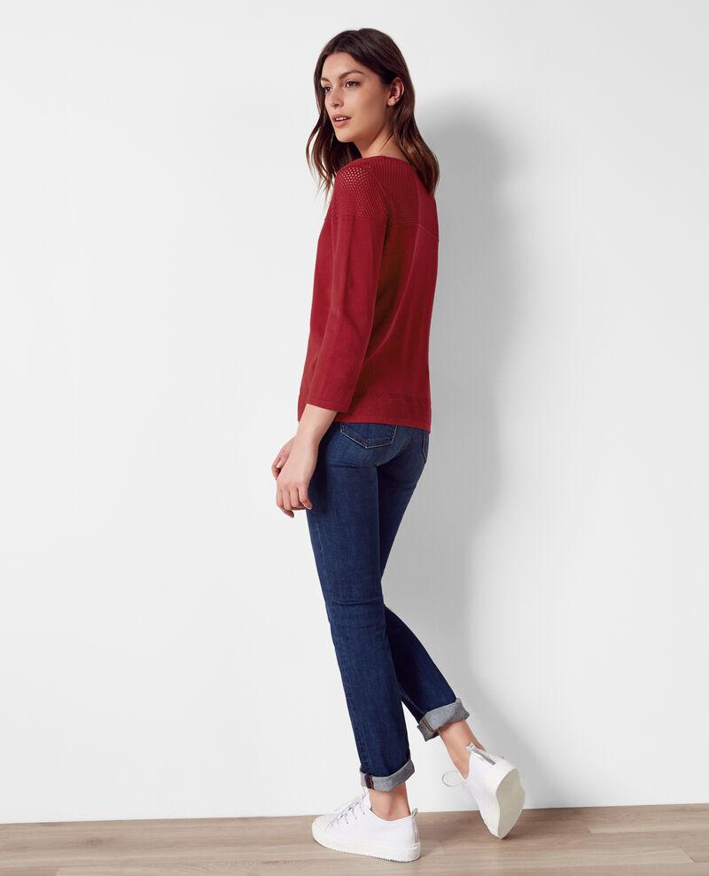 Pullover mit Ajour-Elementen und Leinen Raspberry Carema