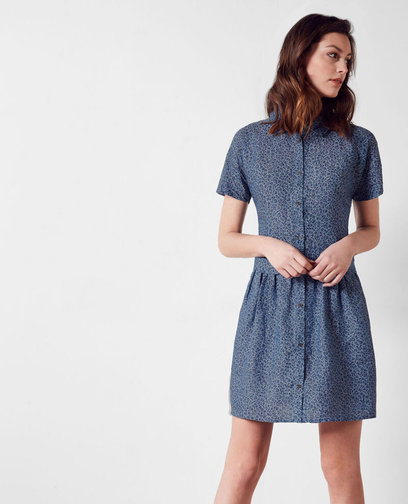 Linen print dress Linen meadow indigo Cutie