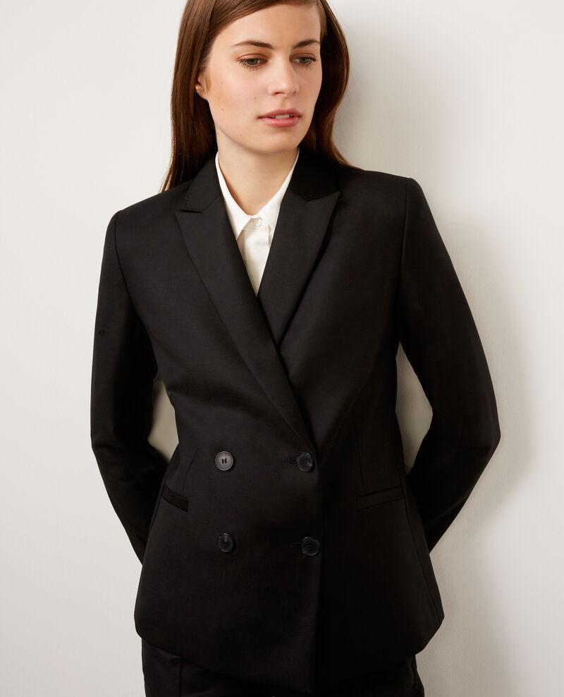 Veste double boutonnage en laine Noir Balthazar