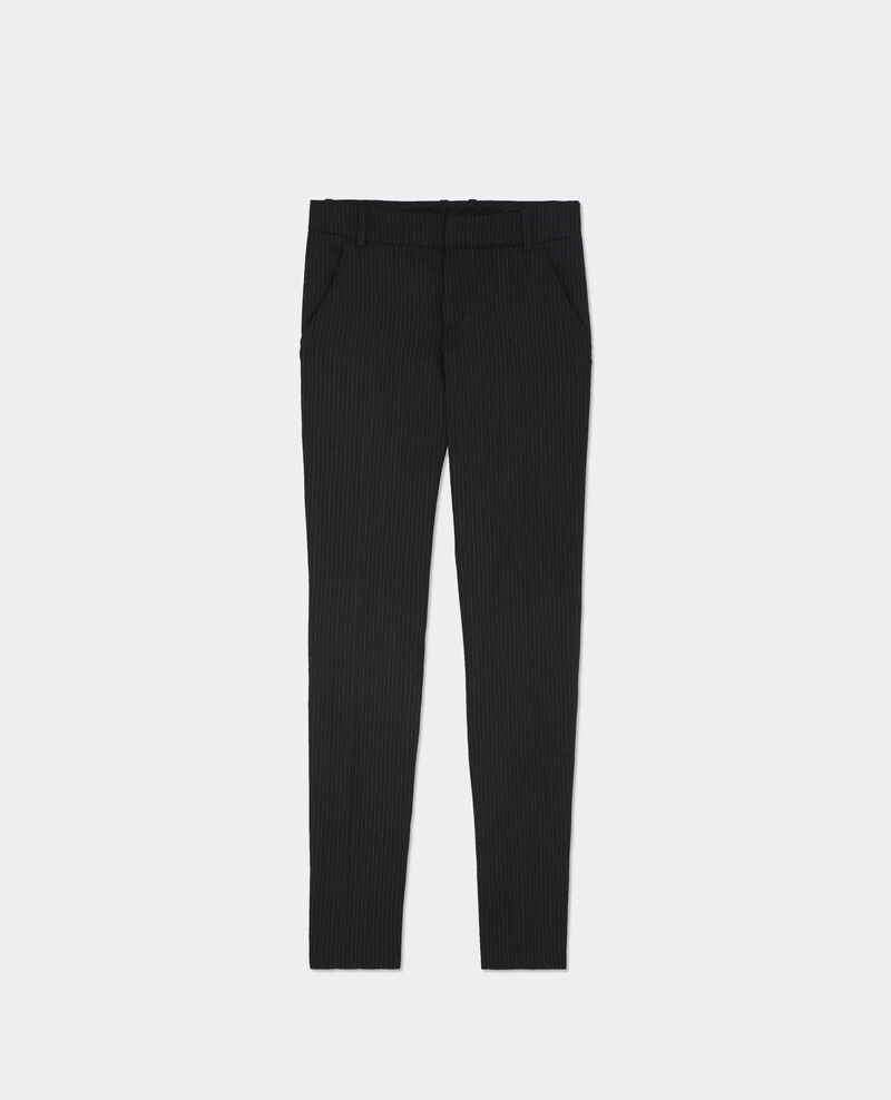Pantalon rayé en flanelle Dark heather grey Batiyo