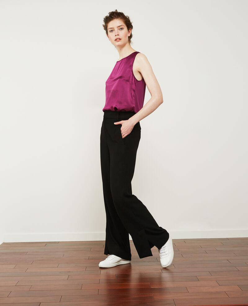 Wide leg heavy crepe trousers  Noir Damorino