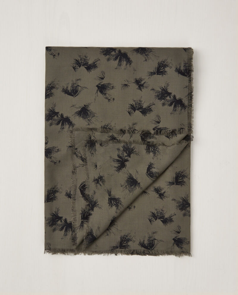 Foulard carré imprimé Anemone kaki Cava