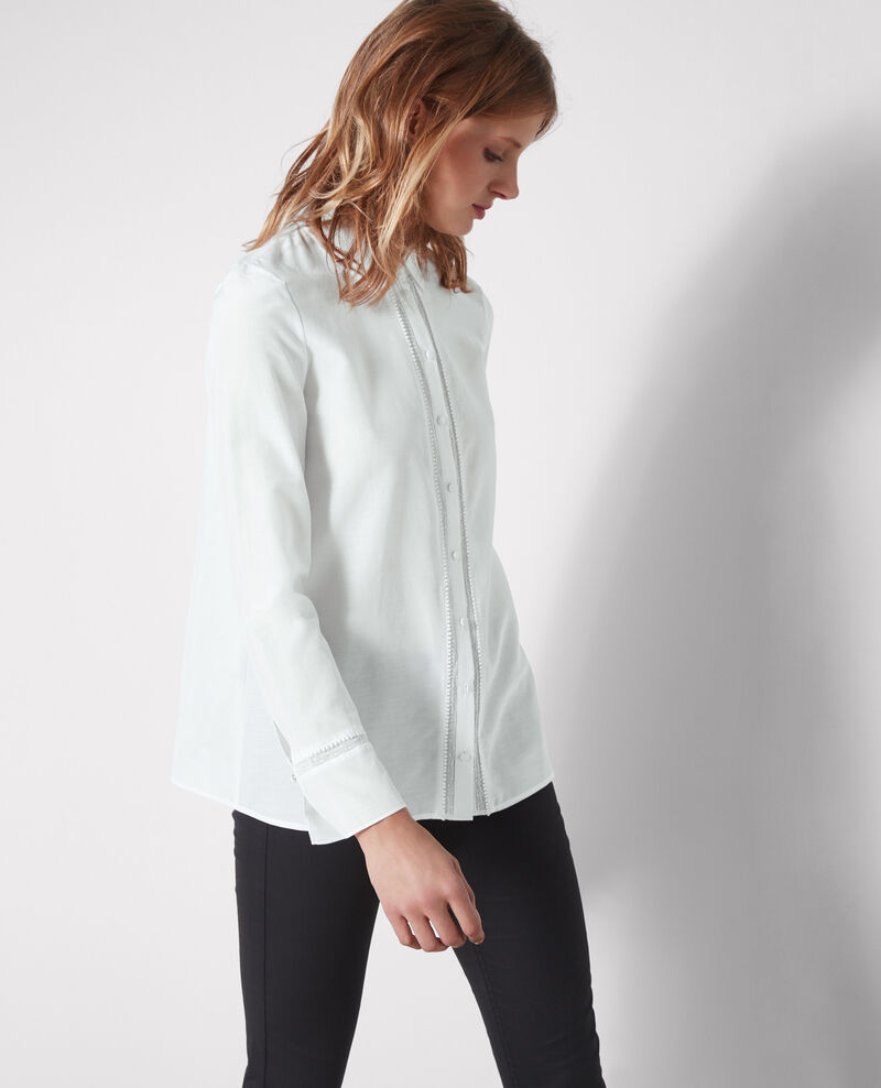 Shirt with lace detail and silk Blanc Cristalina