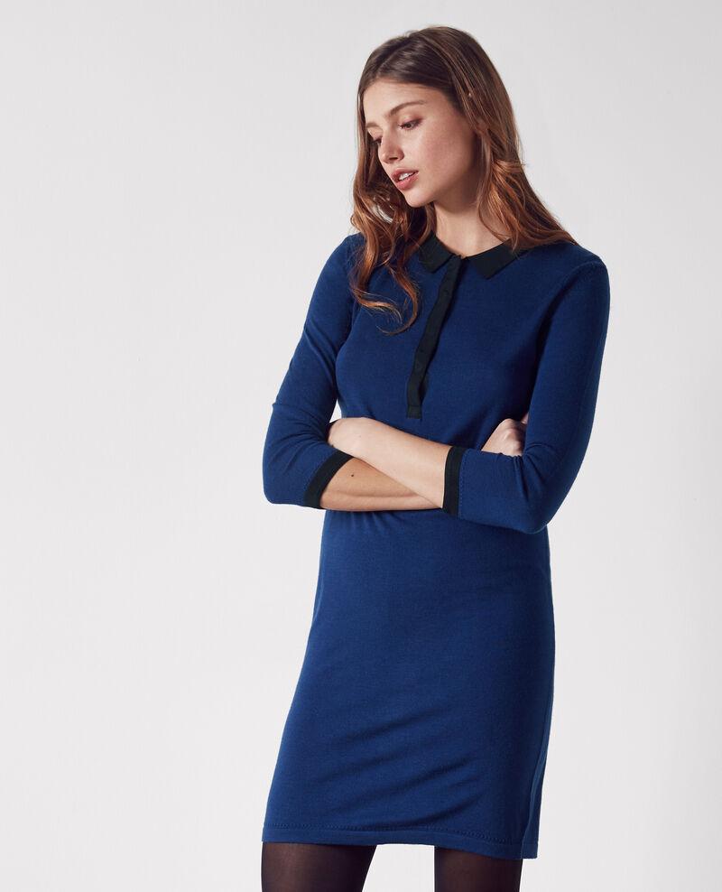 Merino wool fine-knit polo dress Indigo/black Curly
