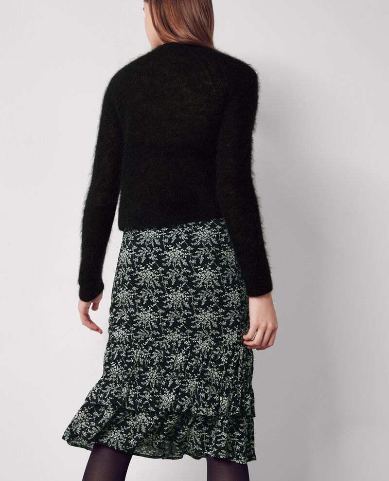 Jersey cropped con lana y mohair Noir Chewbaka