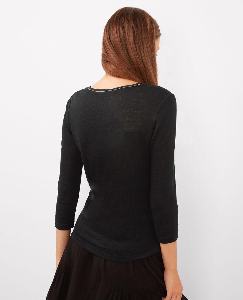 Camiseta de lino con mangas 3/4 y detalle en el escote Noir Barren