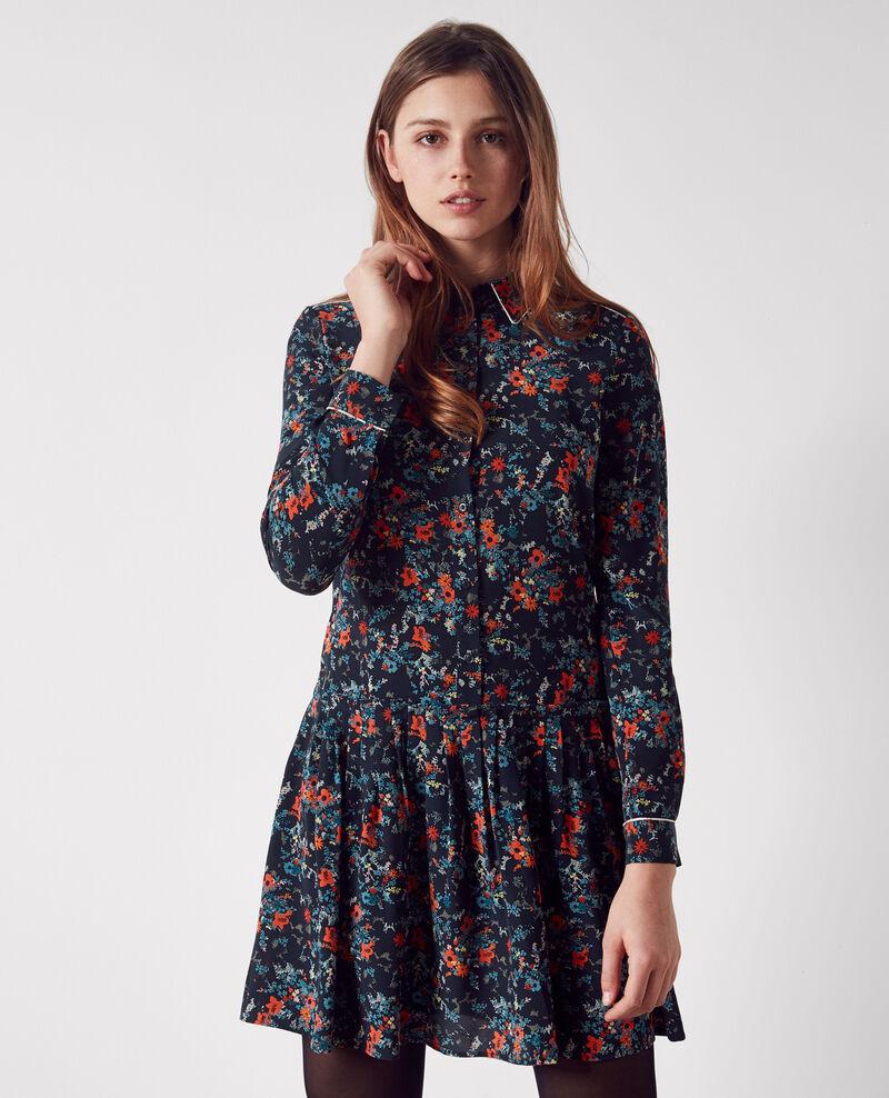 Robe chemise imprim e en soie bouquet leaves dark navy constellation comptoir des cotonniers - Robe en soie comptoir des cotonniers ...