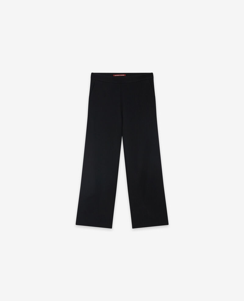 Wool blend wide cropped trousers Noir Delaplace