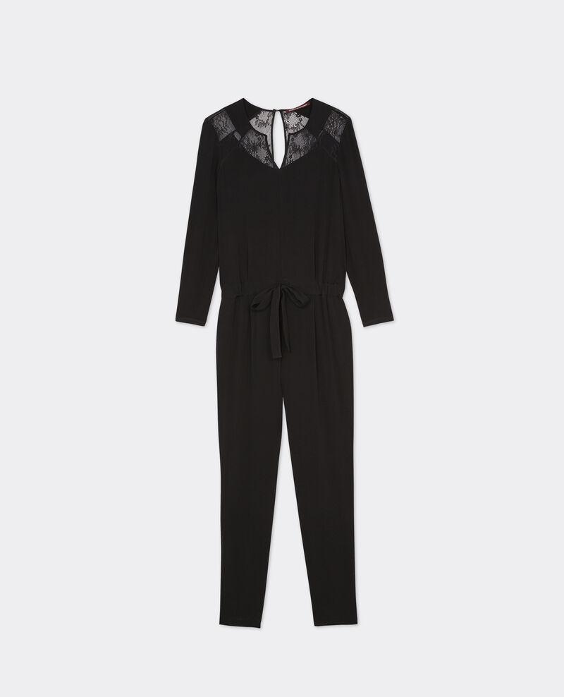 Combi-pantalon slim avec empiècements en dentelle Noir Belcombi