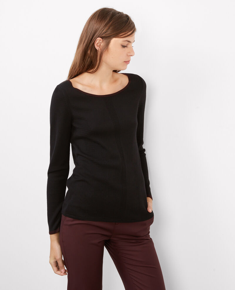 Jersey de lana merino Noir/maroon Boulbi