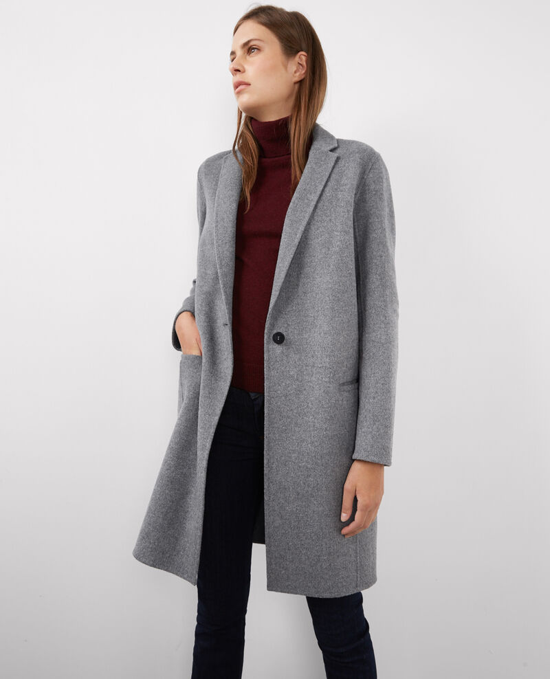 Manteau officier avec laine medium heather grey - Manteau femme comptoir des cotonniers ...