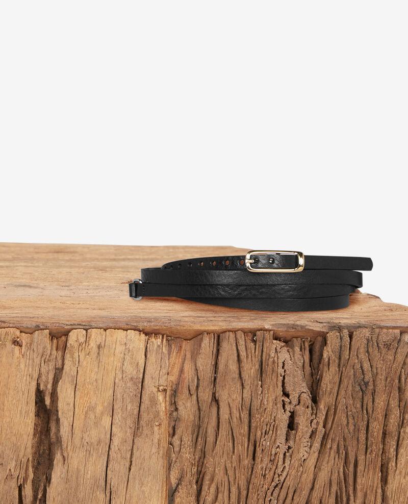 Skinny leather belt Noir Daughter
