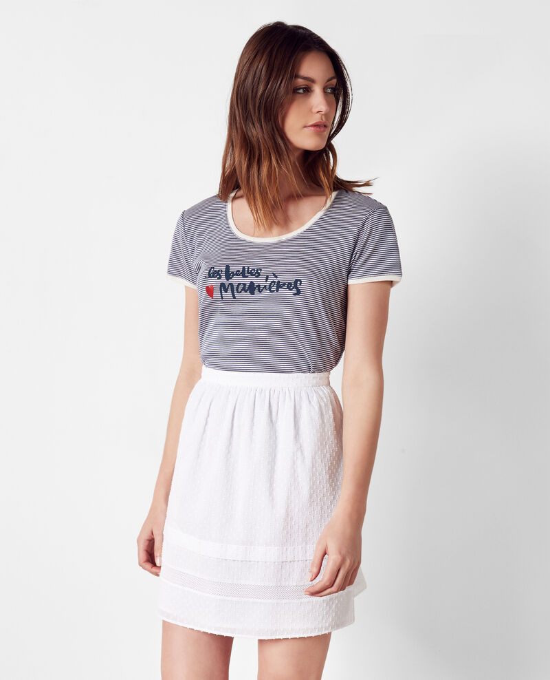 "Camiseta de rayas marineras  ""Les belles ♥ manières"" Ink blue Cerf"