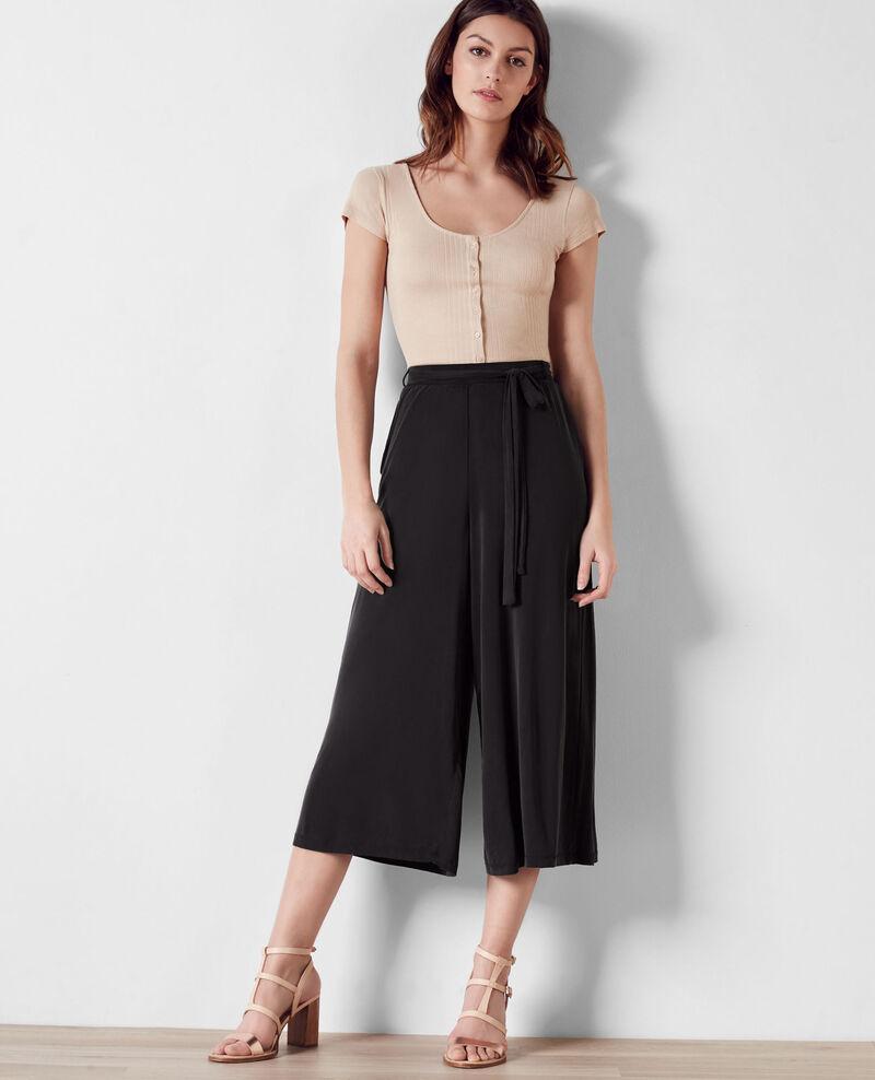 pantalon esprit jupe culotte fluide noir cavaliere comptoir des cotonniers