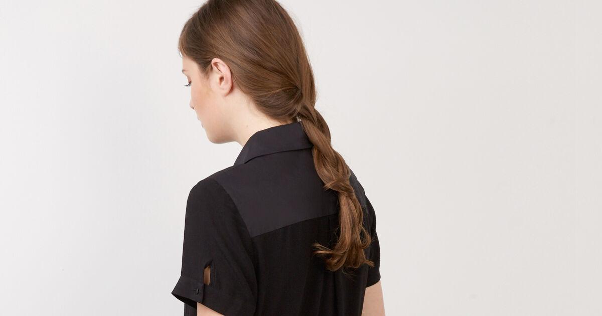 Robe col chemise noir bonjour comptoir des cotonniers - Robe col claudine comptoir des cotonniers ...