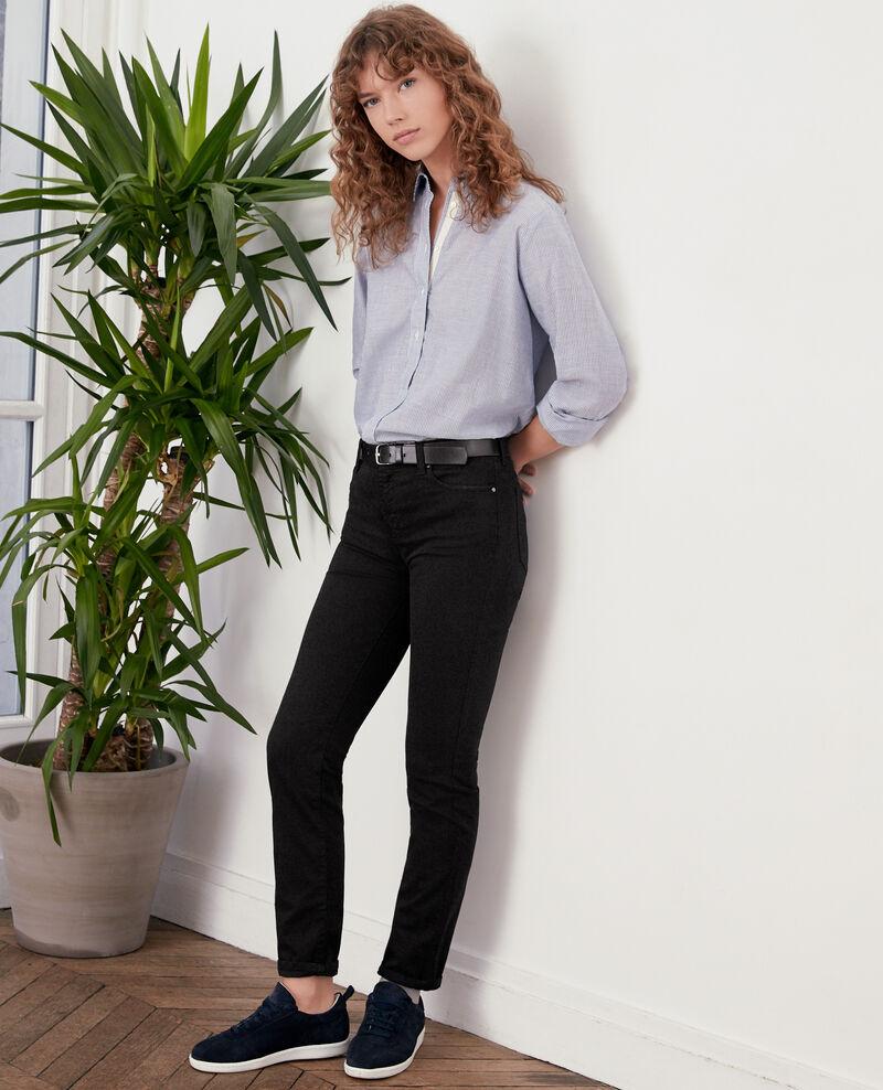 Jeans cigarette tacto piel de melocotón Noir Dhanna