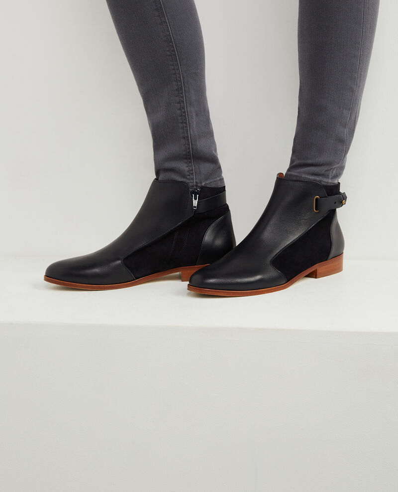 leather blend low heel boots twilight baril comptoir