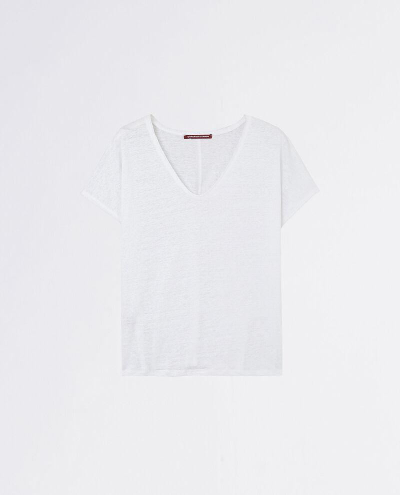 T-Shirt en lin avec détail lurex Blanc Canaille