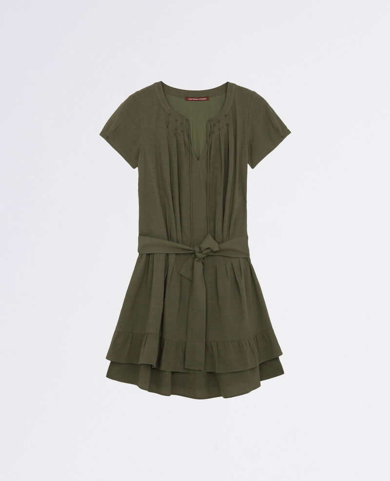 Frilly dress with embroidery details Army Costarica