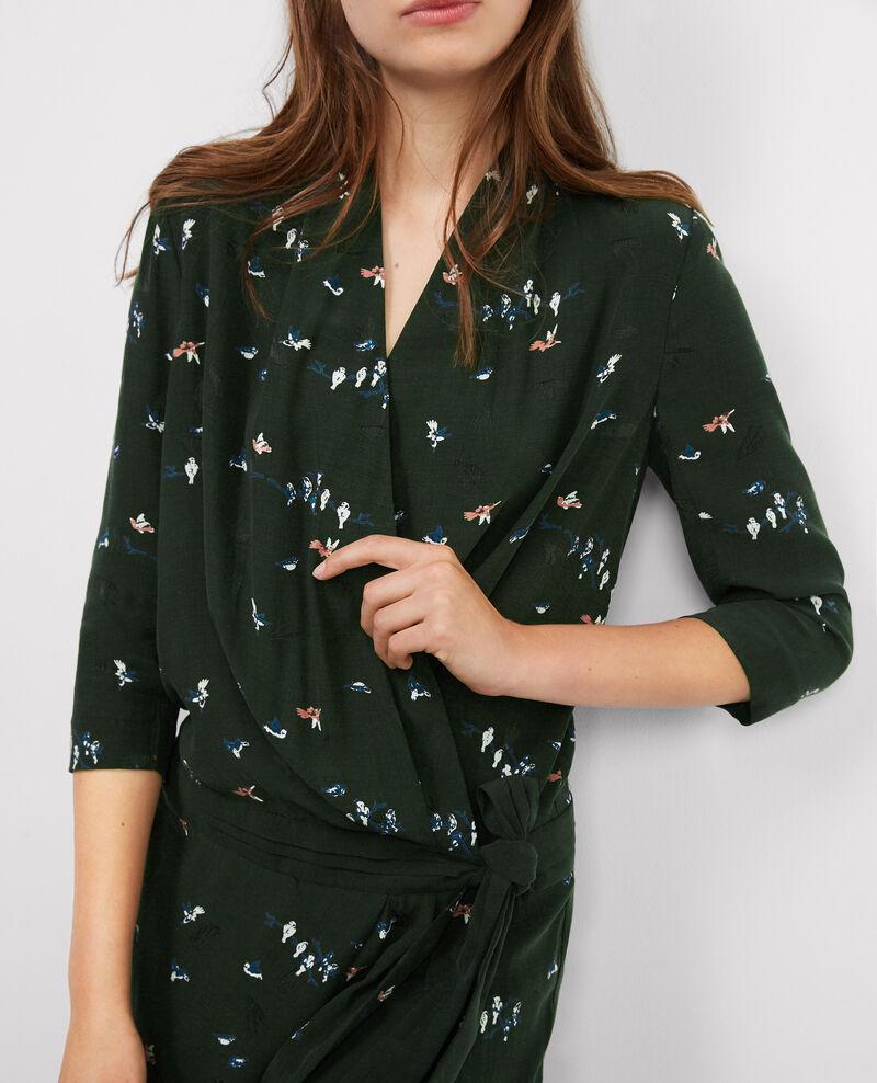 Robe cache-coeur imprimée Birdy hunter green Bigup