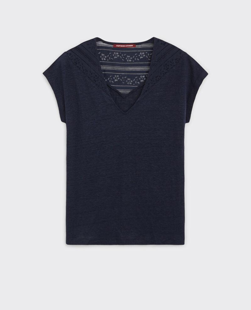 T-Shirt en lin avec empiècement de dentelle Midnight Choubidou