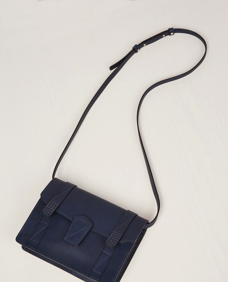 Mini cartera de piel Ink blue Cecile