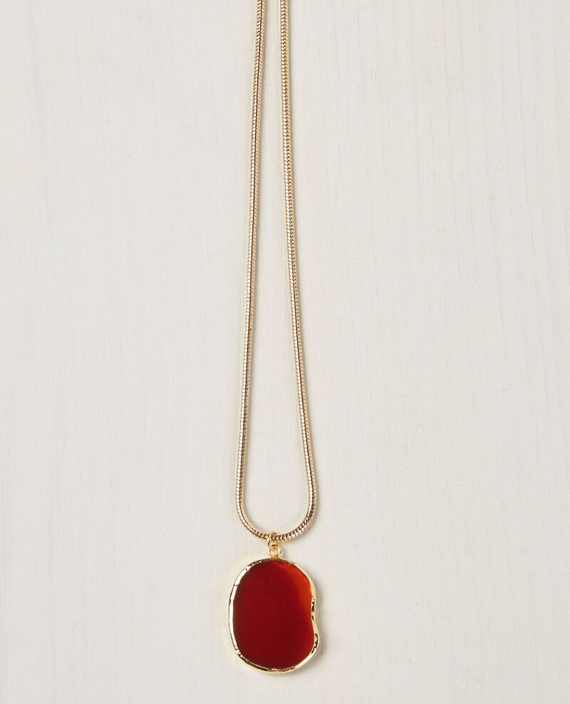 Necklace with agate pendant Gold/ambre Ceruleen