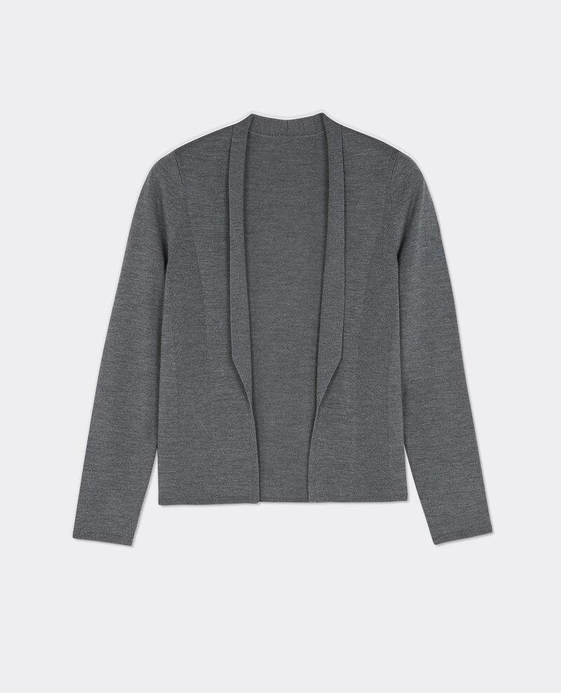 Cárdigan corto de lana merino Gris fonce Brad