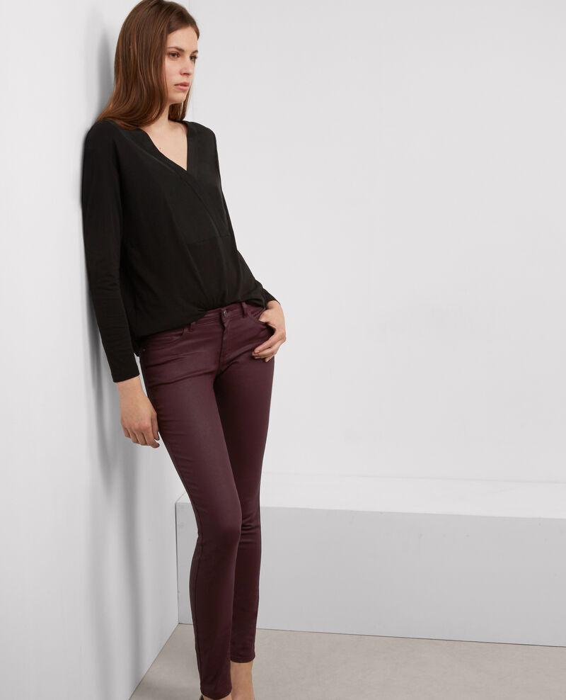 """Jeans skinny resinados """"Jolie-Chérie"""" Maroon Brindille"""