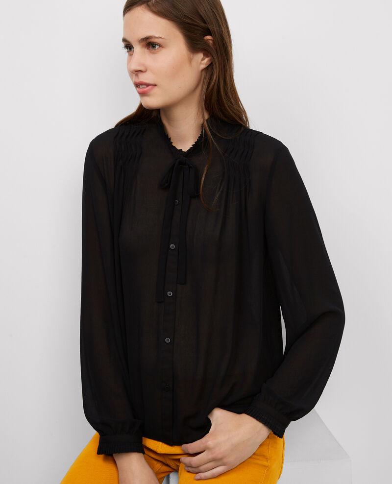 bluse mit kleinem stehkragen und schleife noir baron. Black Bedroom Furniture Sets. Home Design Ideas