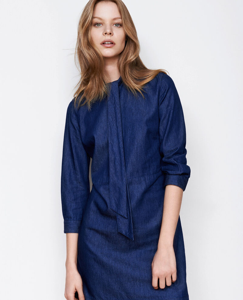 Robe en denim à col lavallière Dark denim Bigorneau