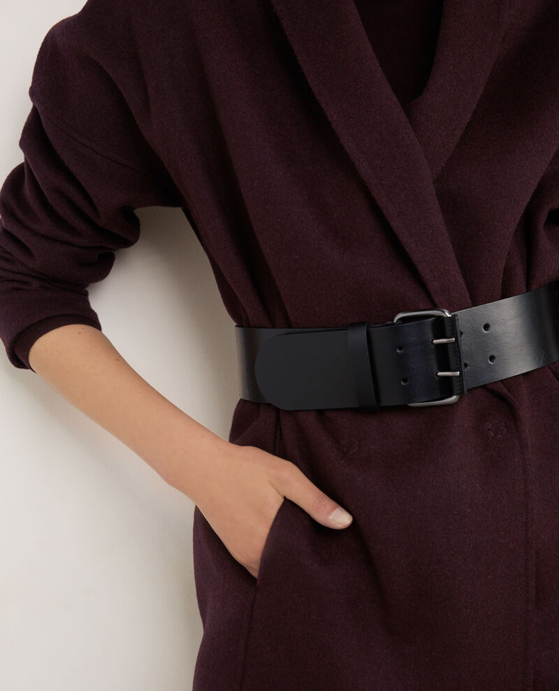 Wide leather belt Noir Bambin
