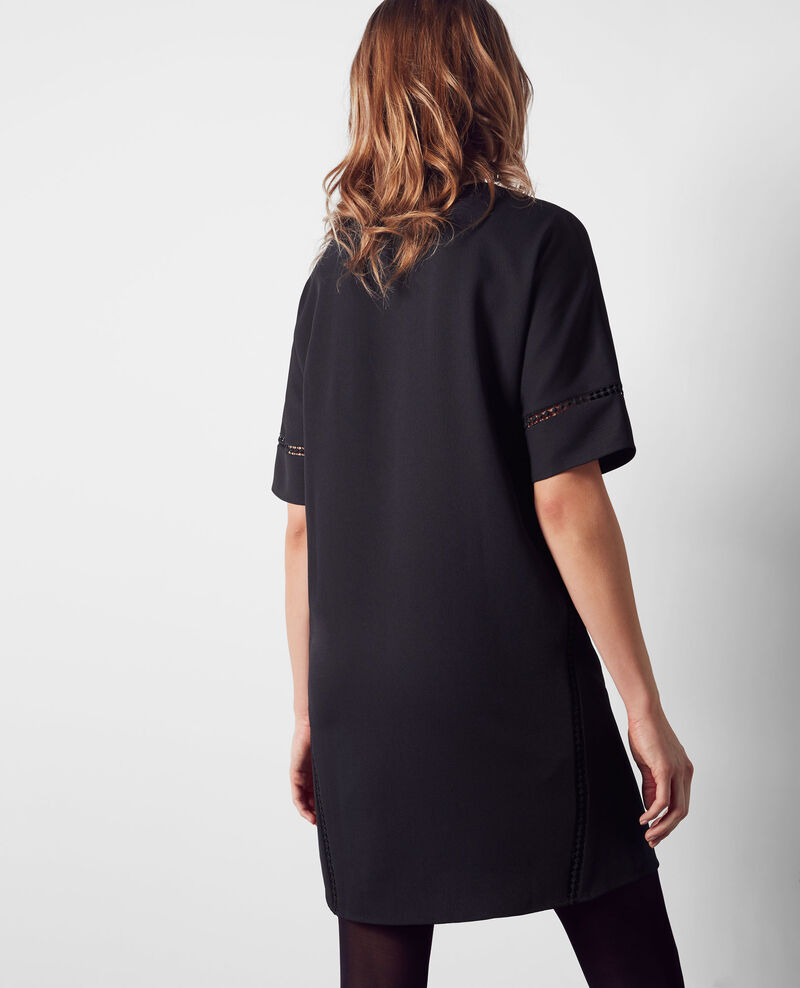 Straight crepe dress with openwork details Midnight Choisy