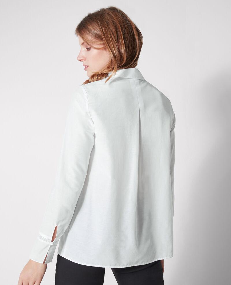 Chemise avec détail de dentelle et soie Blanc Cristalina