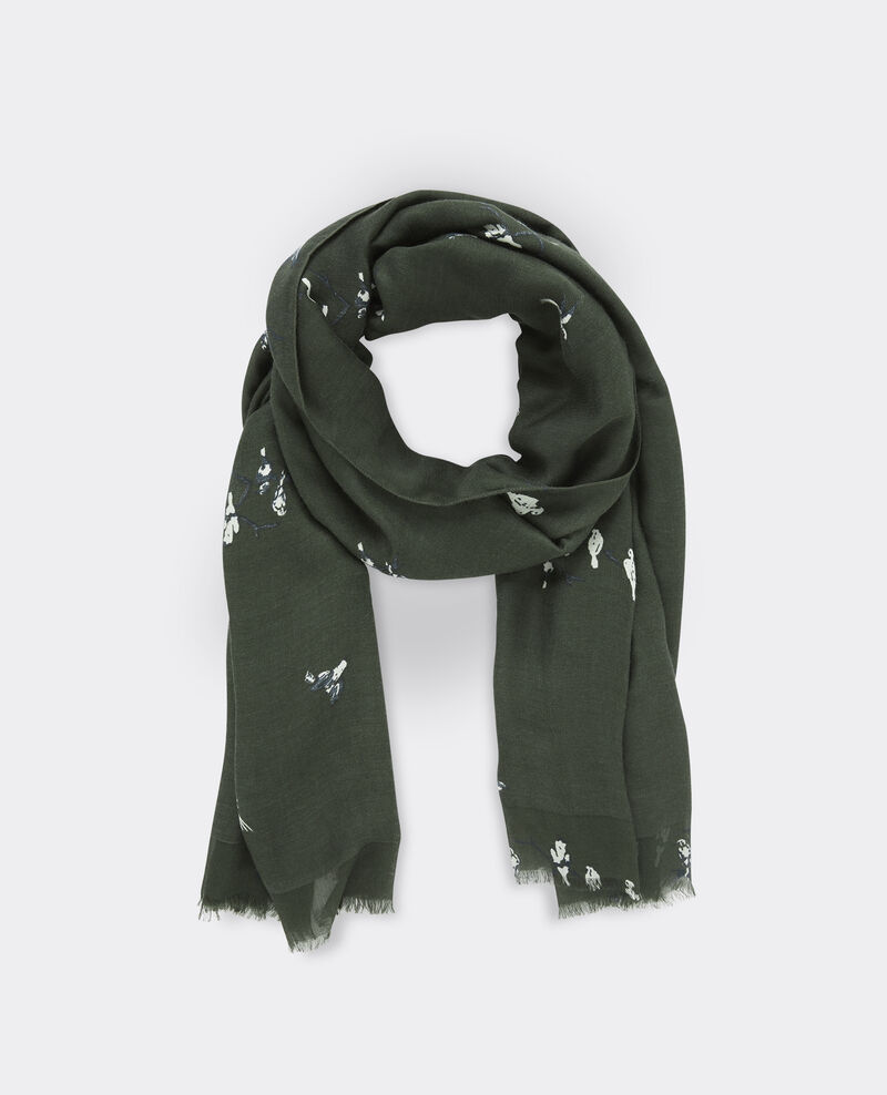 Foulard imprimé en mix laine,  soie et modal Birdy hunter green Biennale