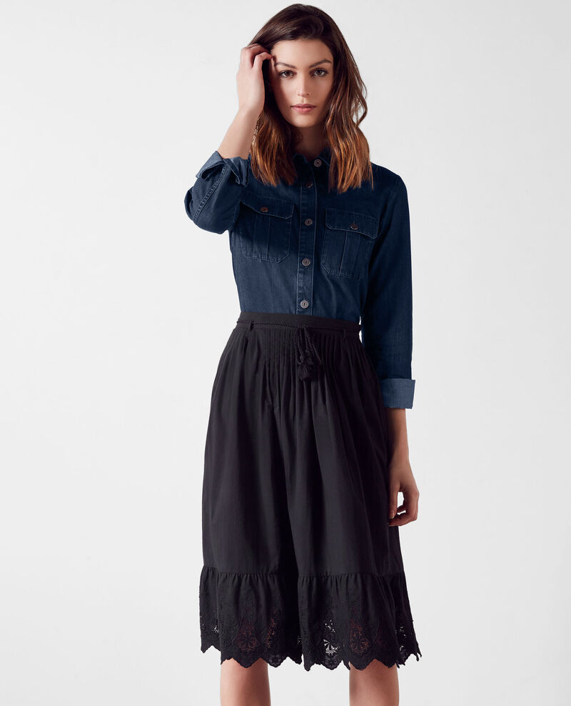 Skirt with broderie anglaise detail Noir Cathy