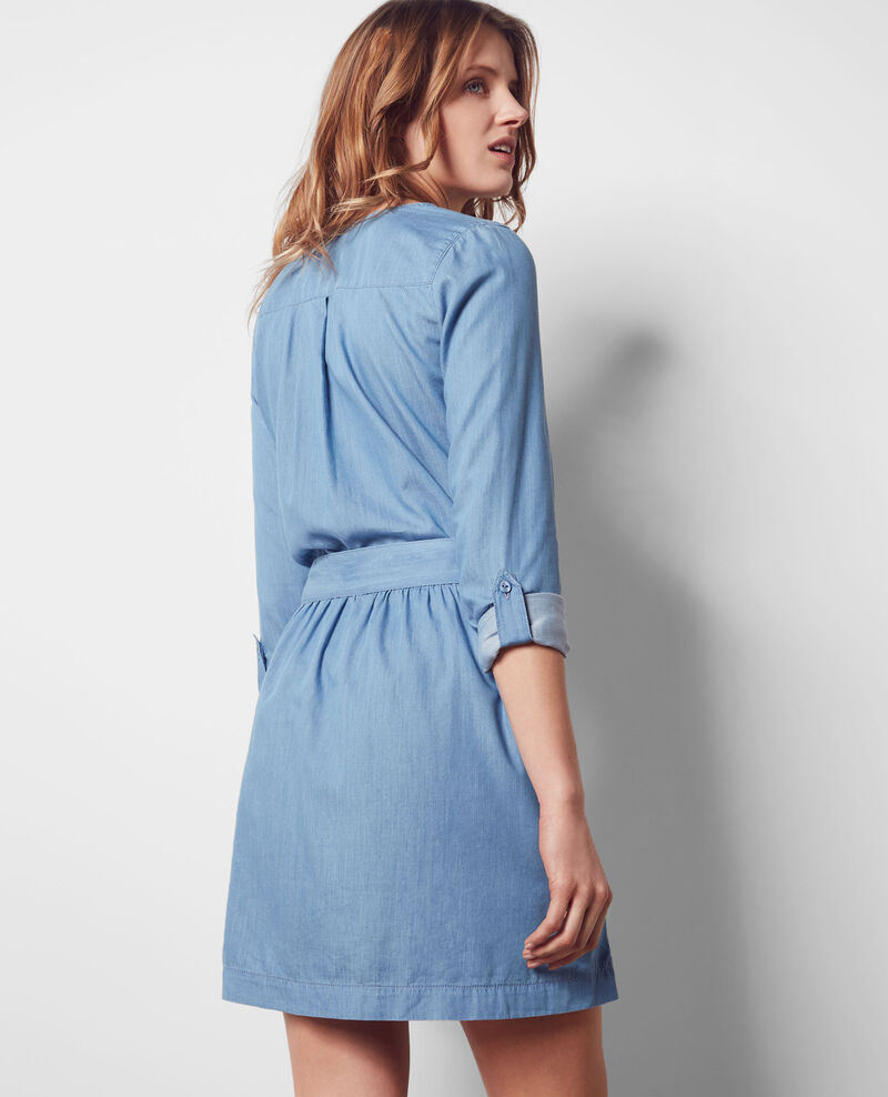 Loose dress in Tencel denim Indigo Coralie