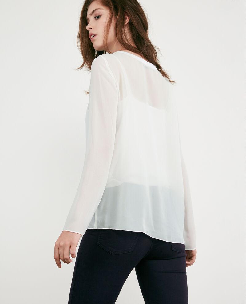Camiseta de manga larga en gasa de seda Off white Dalpestre