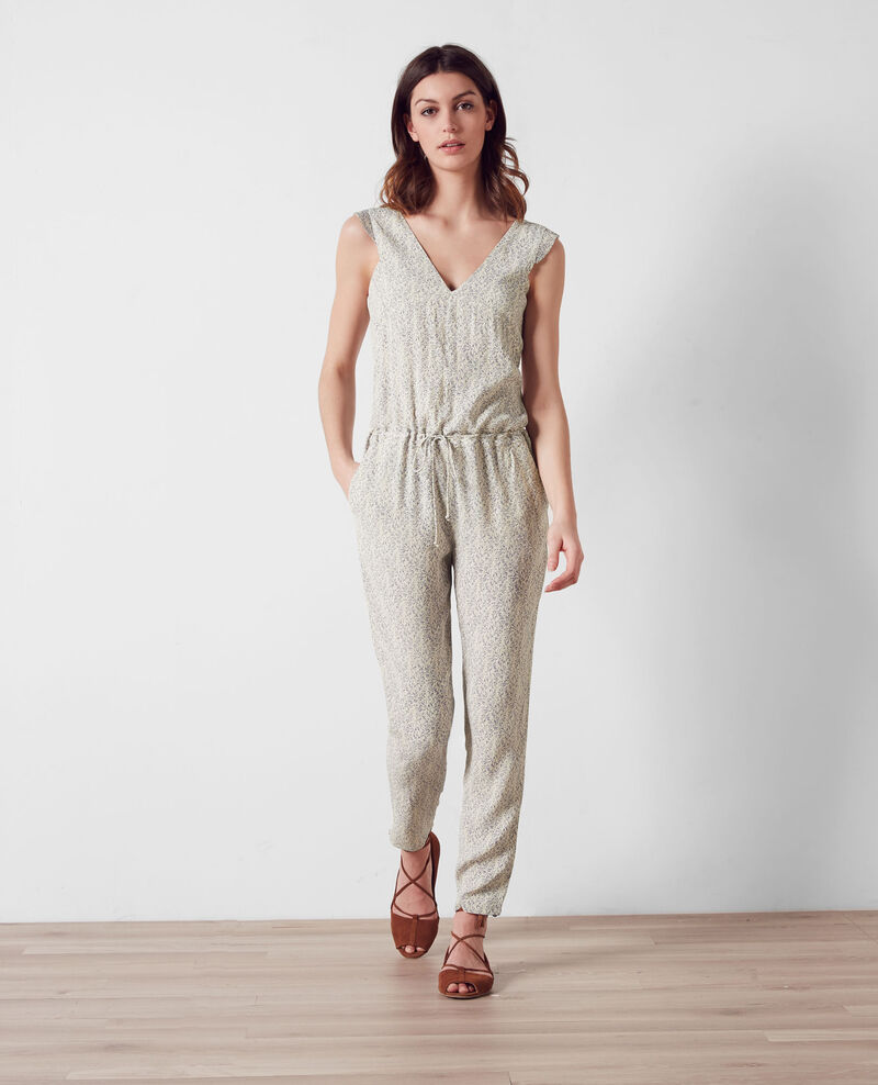 Gemusterter Jumpsuit mit Volants Summer lines ink blue Camba