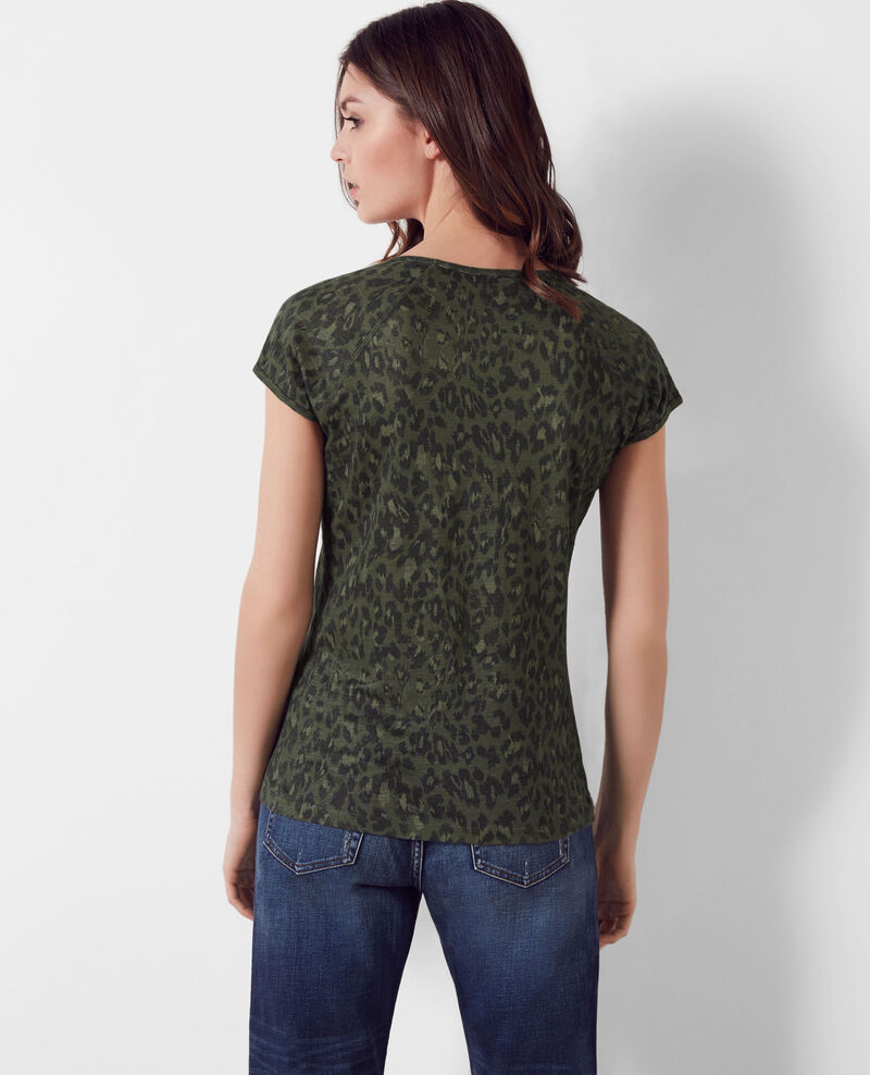 T-Shirt en lin imprimé Wild panthere dark kaki Curacao