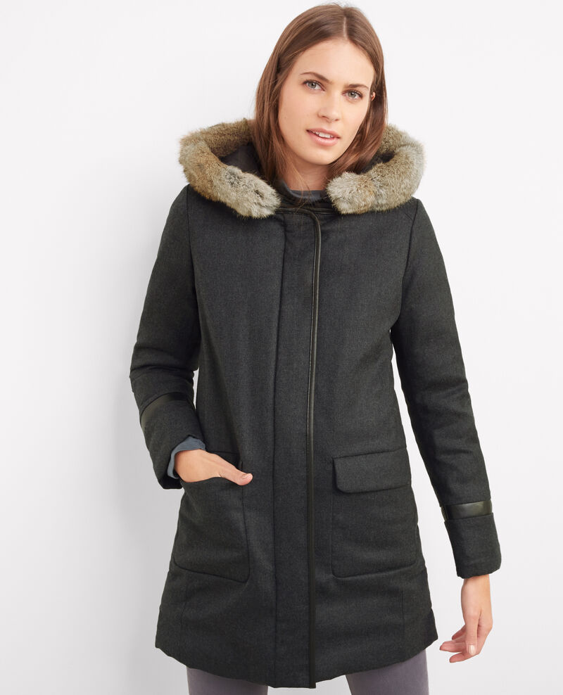 Flannel hooded parka gris chine bijeanne comptoir des - Manteau bi matiere comptoir des cotonniers ...