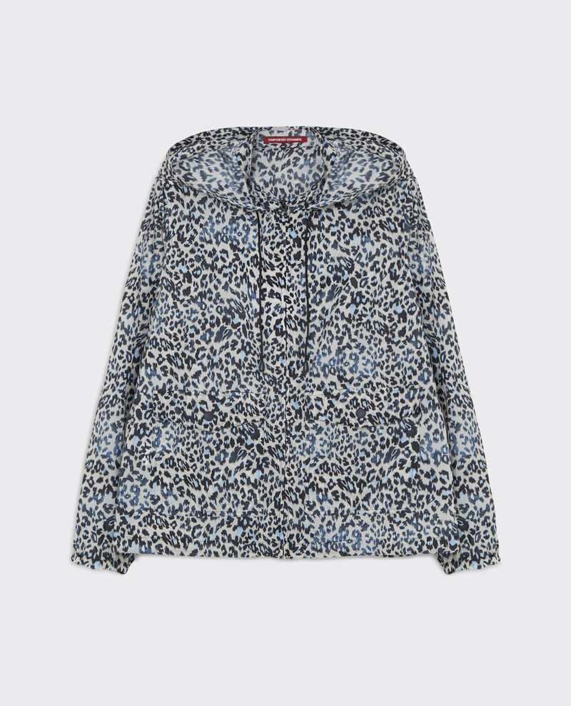Printed pocketable parka with hood Wild panthere Canotier