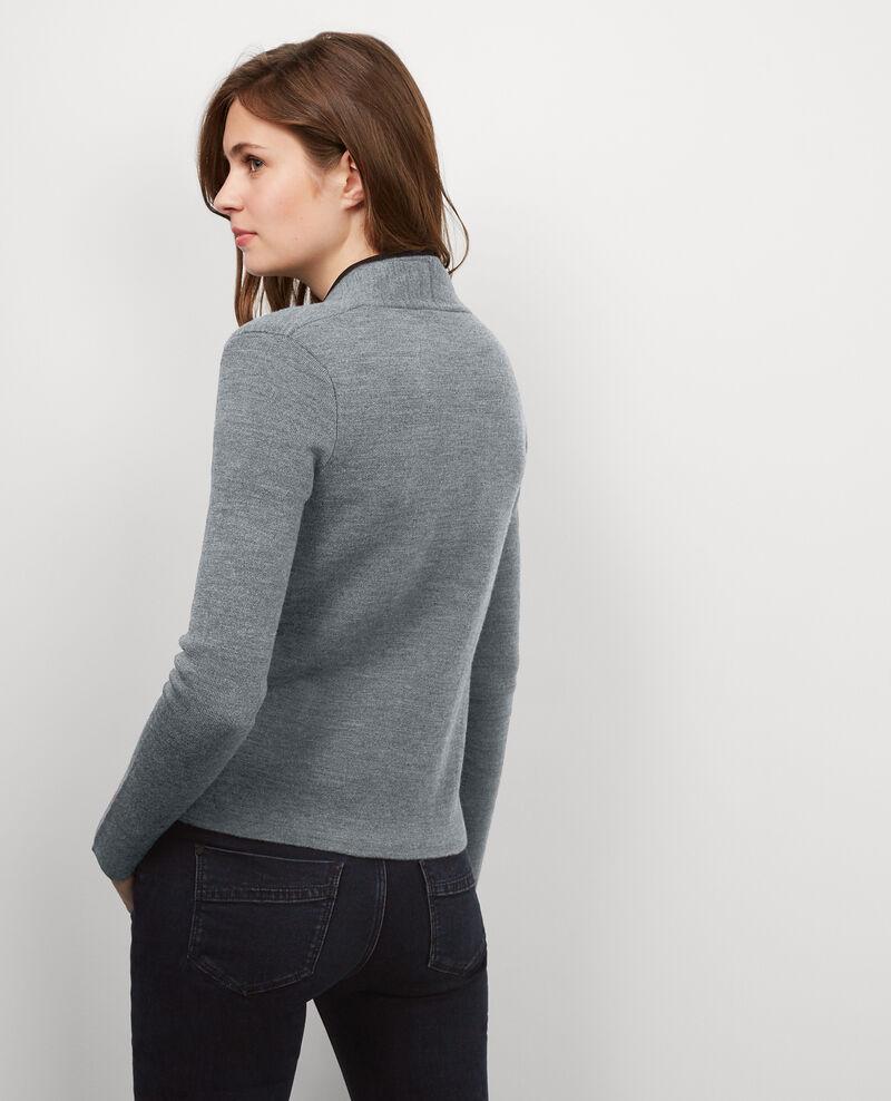 Cardi-veste zippé avec laine Gris fonce/gris chine Buggy