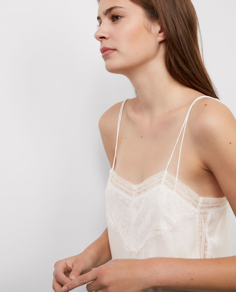 Spaghetti lace top Off white Bacha