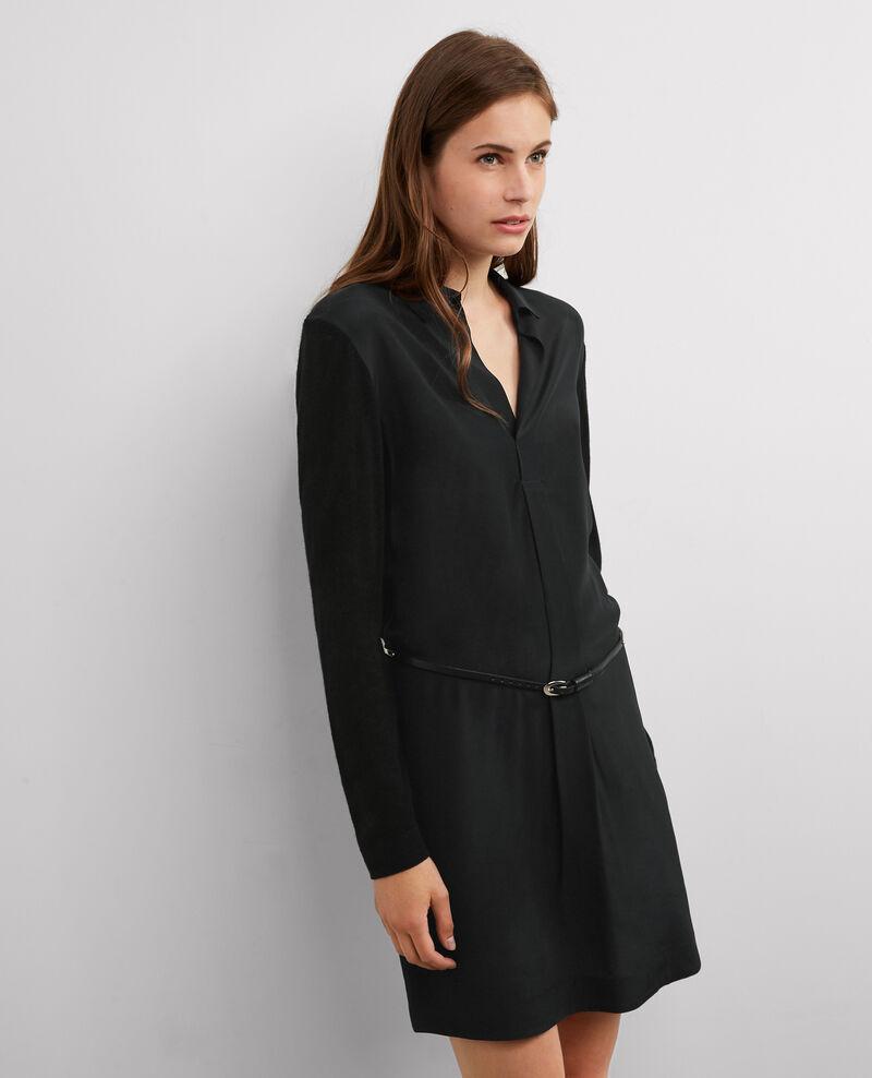 Robe en maille avec soie Noir Bretzelle