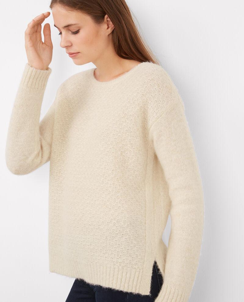 Jersey de baby alpaca con detalle de lúrex Off white Barbara