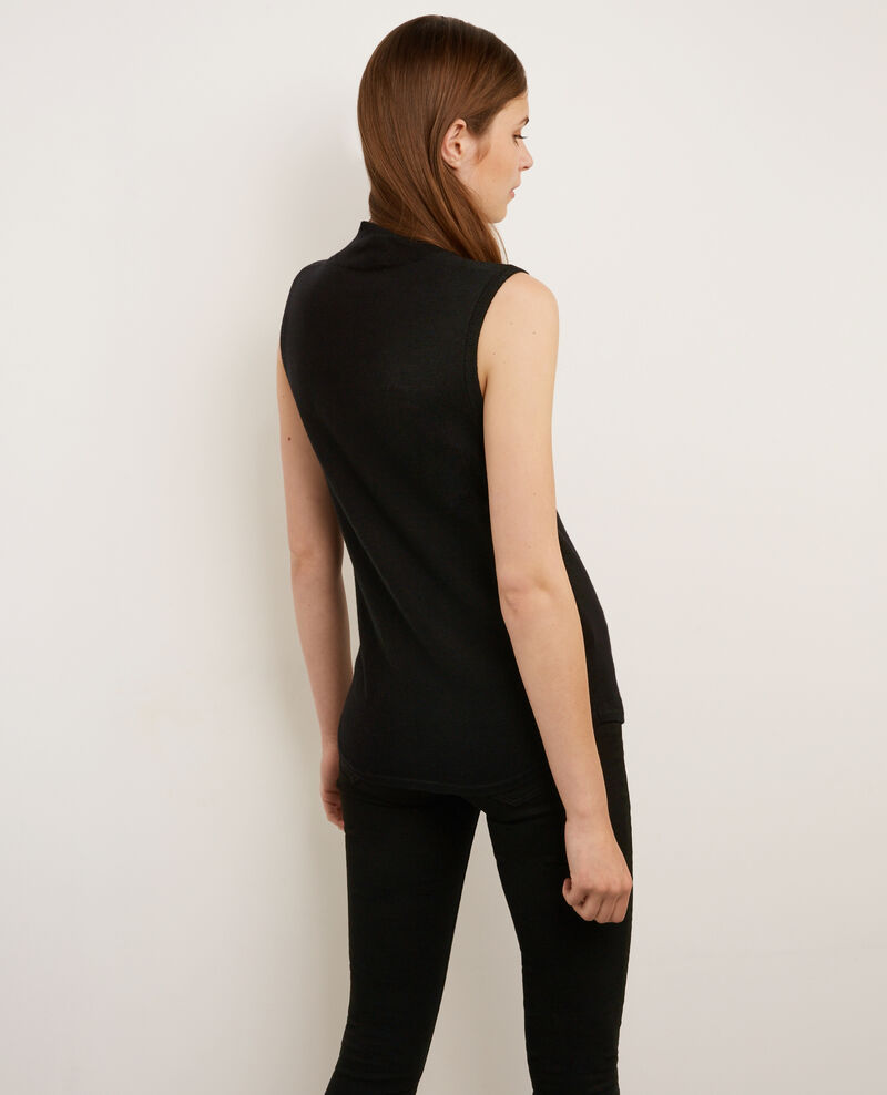 Sleeveless jumper with mock turtleneck collar noir for Sleeveless mock turtleneck shirts