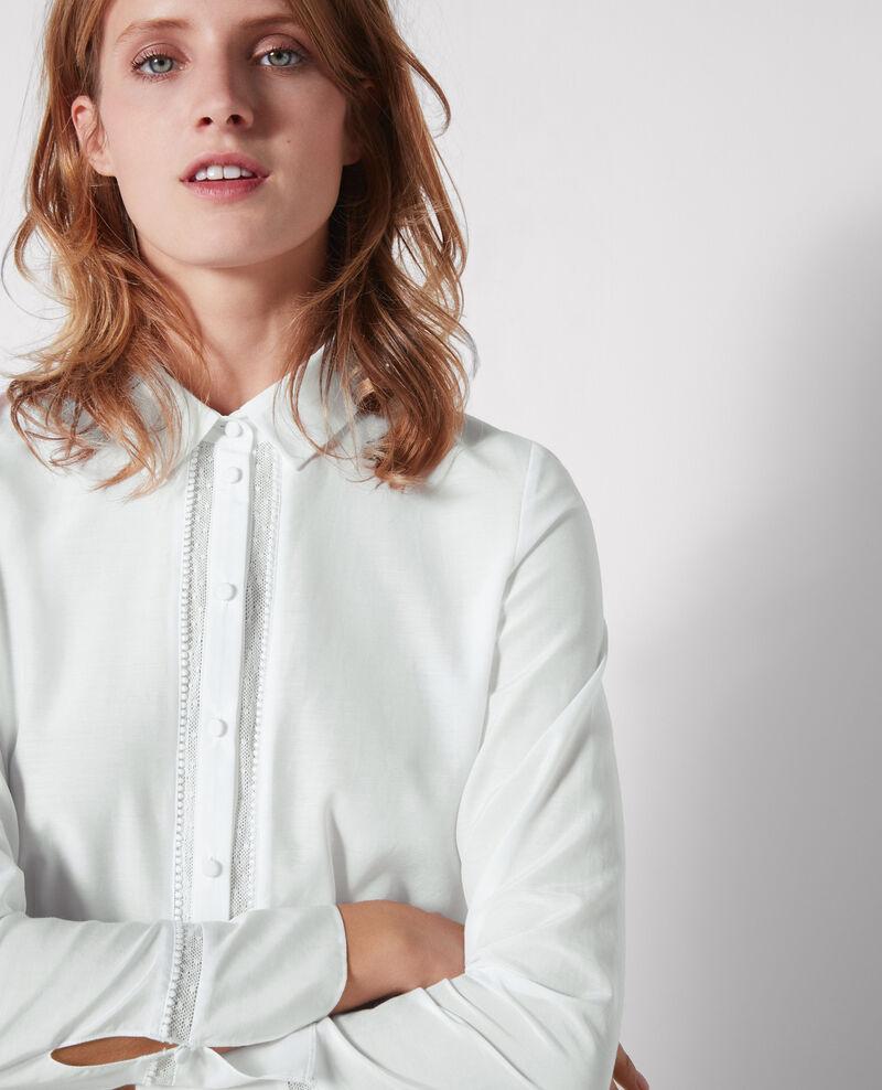 Chemise avec détail de dentelle et soie Blanc - Cristalina | Comptoir des Cotonniers