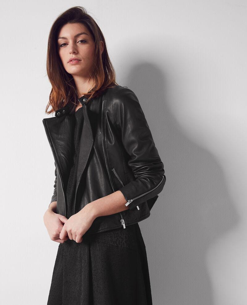 Veste en cuir noir chat comptoir des cotonniers - Veste en cuir comptoir des cotonniers ...