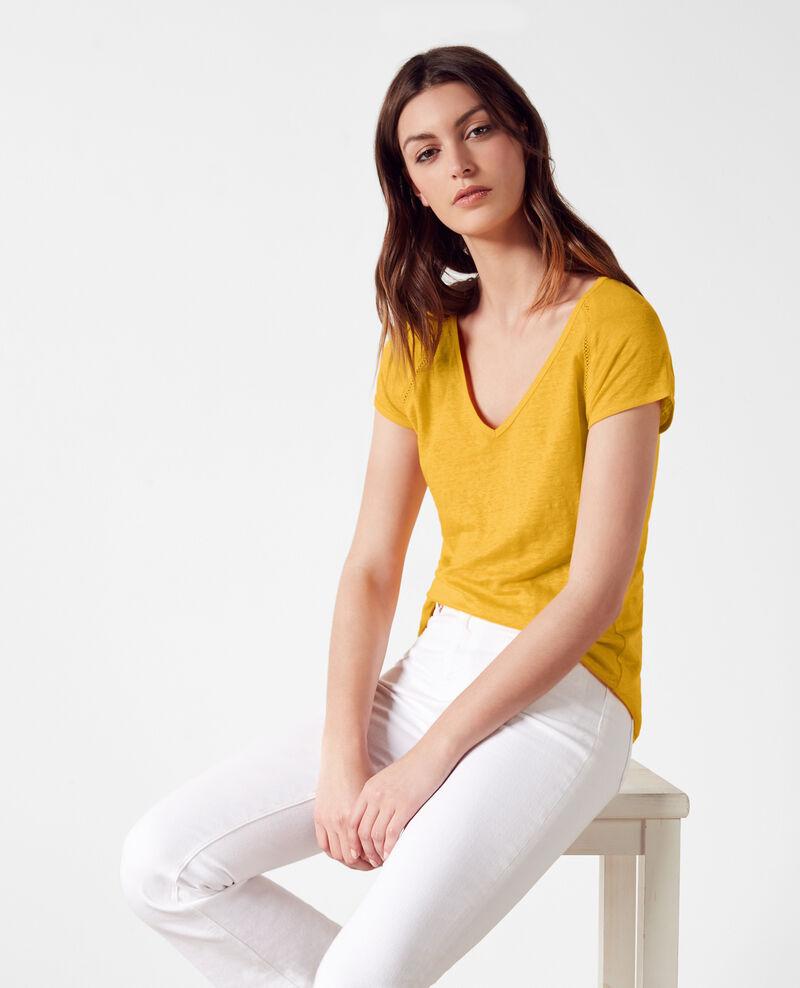 Linen t-shirt Crayola Caramel